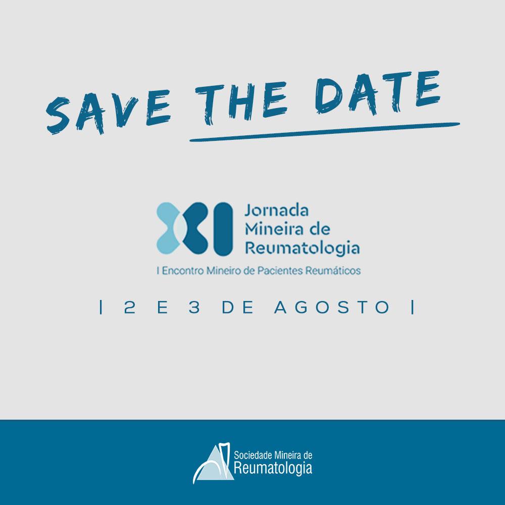 Save the Date - XI Jornada Mineira de Reumatologia - 2 e 3 de Agosto - I